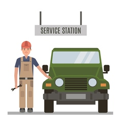 Mechanic and repaired the car vector image