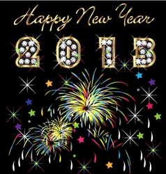 2013 with fireworks celebration vector