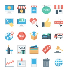 Shopping and e commerce colored icons 5 vector