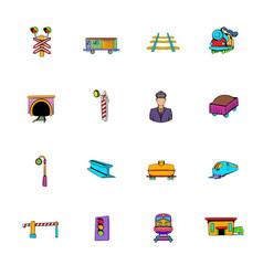 railroad icons set cartoon vector image