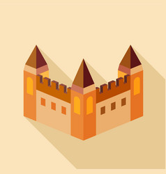 medieval fortification icon flat style vector image