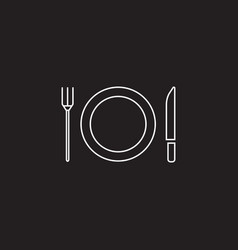 Plate fork and knife line icon dishware vector