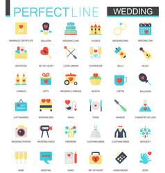 Set of flat wedding icons vector