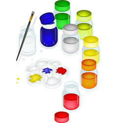Color paint jars and palette with a brush vector