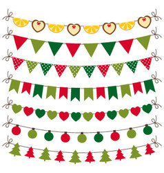 Christmas bunting and decoration set vector