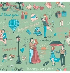 Seamless pattern with love story elements vector