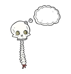 Spooky cartoon sull and spine with thought bubble vector