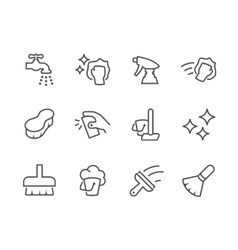 Outline cleaning icons vector