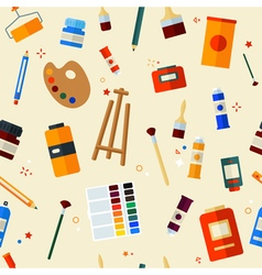 Tools and Materials for Painting Seamless Pattern vector image