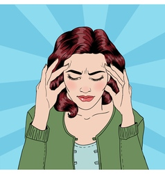 Woman has a headache woman stress vector