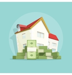 House with pile money home expense symbol vector