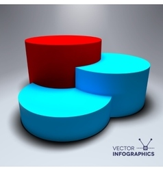 Infographic 3d pedestal with blue and red vector