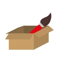 Brown box with paint brush icon vector