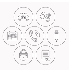 Phone call pencil and search icons vector image