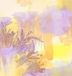 Abstract watercolor background with graphic floral vector image vector image