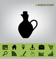 Amphora sign black icon at vector