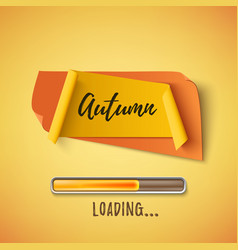 autumn abstract paper banner with loading bar vector image