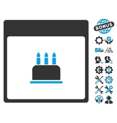 Birthday cake calendar page icon with bonus vector