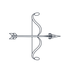 Bow arrow ornate decorative element line vector