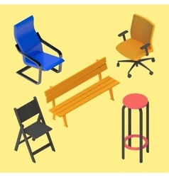 Chair armchair stool bench furniture vector image vector image