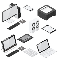 Computer and office devices detailed isometric vector image