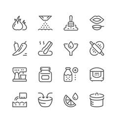 Cooking related set line icons vector