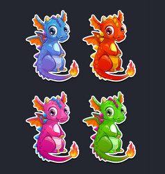 cute cartoon little dragon vector image