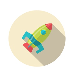 Flat icon of rocket with long shadow style - vector