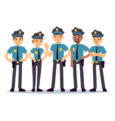 Group of police officers woman and man cops vector