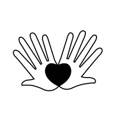 Hands love heart romantic concept pictogram vector
