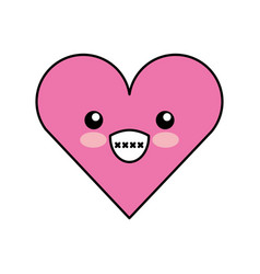 Heart love kawaii character vector