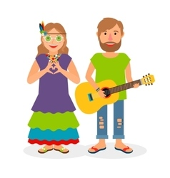 Hippie love couple vector image