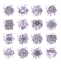 icon set for artificial intelligence ai concept vector image