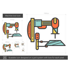Machine tool line icon vector