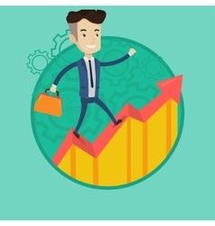 Man running on growth graph vector