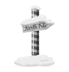 North Pole signpost icon gray monochrome style vector image