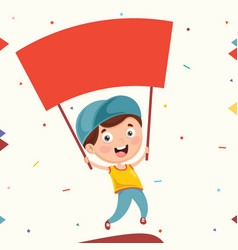 of kid holding placard vector image