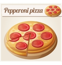 Pepperoni pizza detailed icon vector