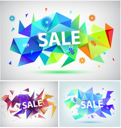 Sale faceted 3d banner poster vector