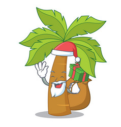 Santa with gift palm tree character cartoon vector
