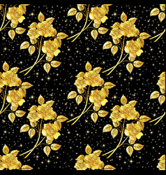 Seamles background golden roses vector