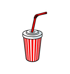 Sketch cold drink cup with lid straw vector