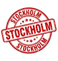 Stockholm red grunge round vintage rubber stamp vector