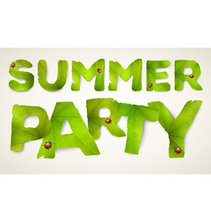 Summer party words made from green leaves vector