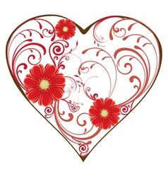 Swirl heart red vector