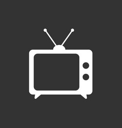 Tv icon in flat style isolated on black vector