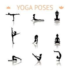 Yoga silhouette poses vector