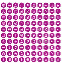 100 loader icons hexagon violet vector