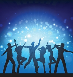 Party people on disco lights background vector