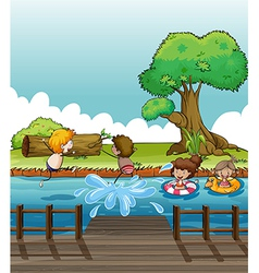 Children having fun at the river vector image